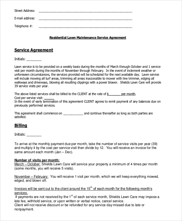 residential lawn service contract