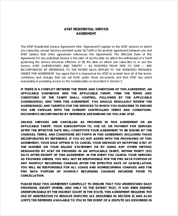 Residential Service Agreement Image Collections  Agreement Letter