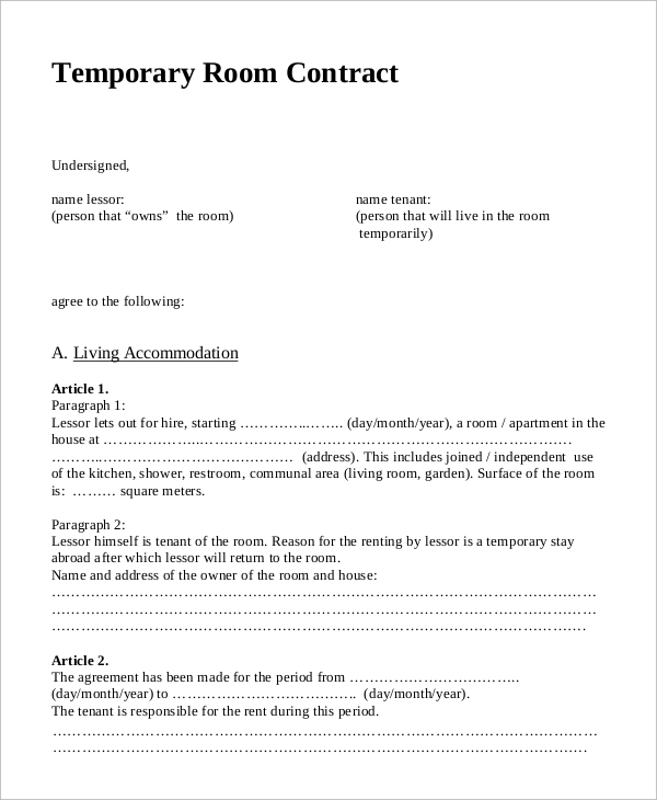 temporary room rental contract