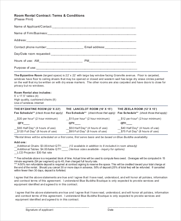 Sample Room Rental Contract   Documents In Pdf
