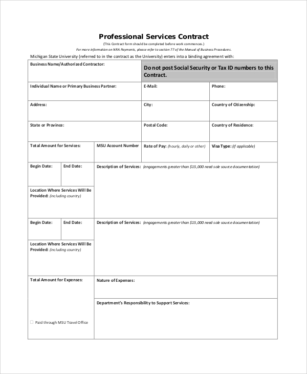 printable personal services contract