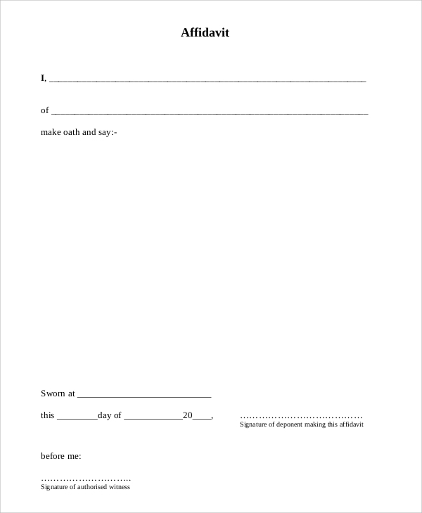 Sample Sworn Affidavit Form - 6+ Documents In Pdf