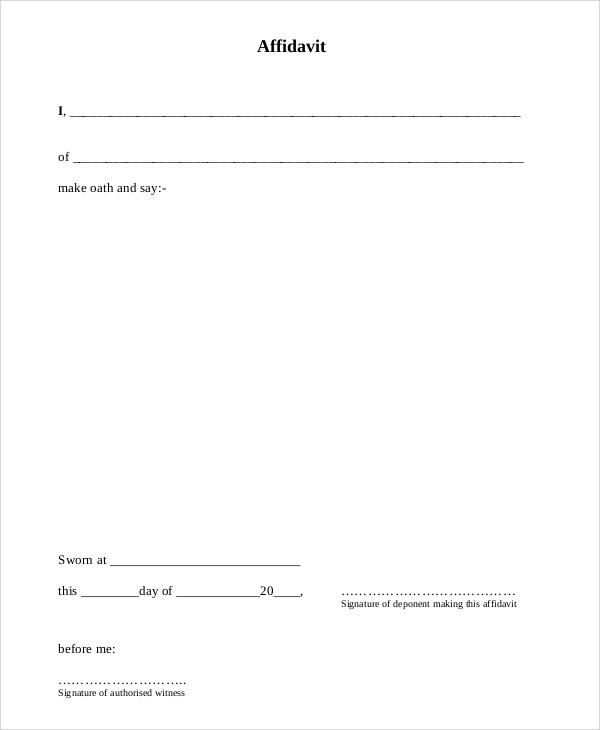 Doc7301000 Free Affidavit Form Download Affidavit Form – Affidavit Form Free