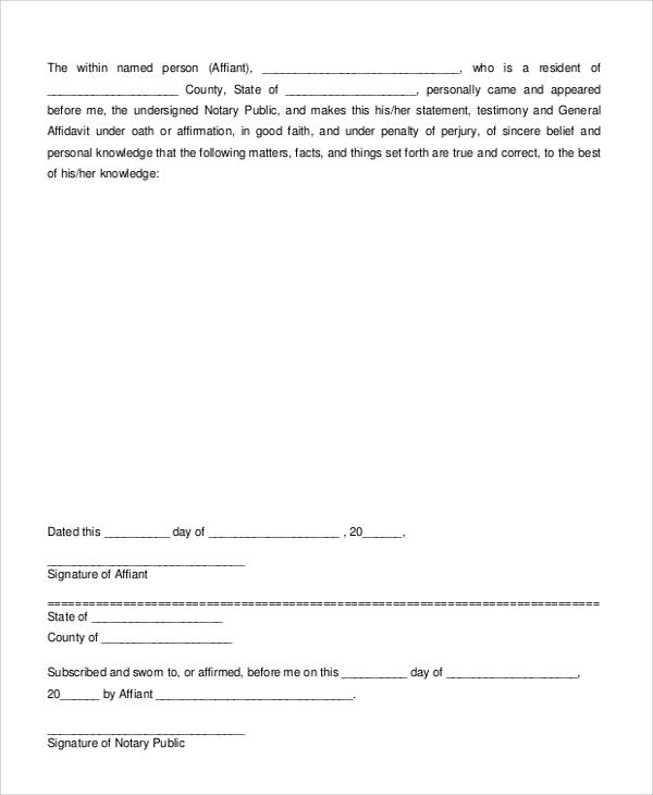 Sample Sworn Affidavit Form 6 Documents in PDF – Word Affidavit Template