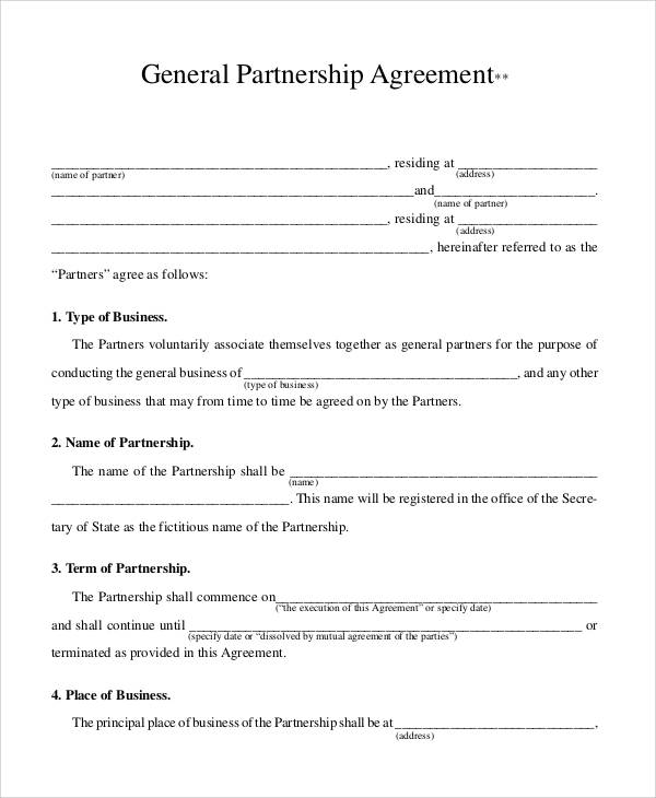 Sample Business Contract 5 Documents in PDF – Business Partnership Contract Sample