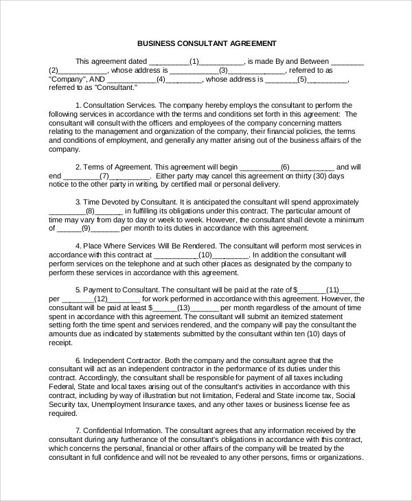 Sample Business Contract 5 Documents in PDF – Business Contract