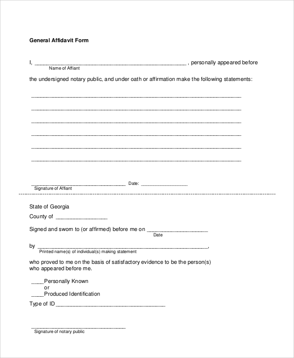 Sample Sworn Affidavit Form 6 Documents in PDF – Printable Affidavit Form