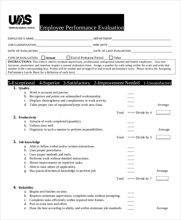 Sample Performance Evaluation 7 Documents In PDF WORD – Sample Evaluation