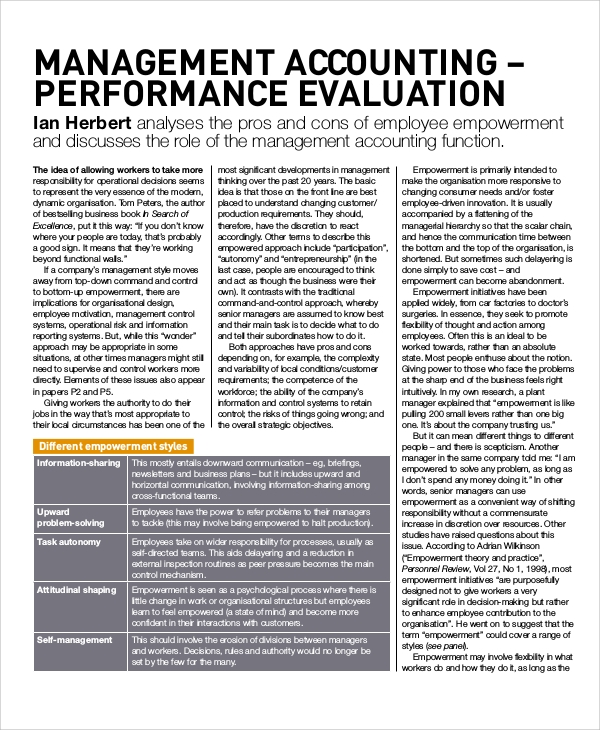 accountant performance evaluation sample Sample Performance Evaluation - 7  Documents In PDF, WORD