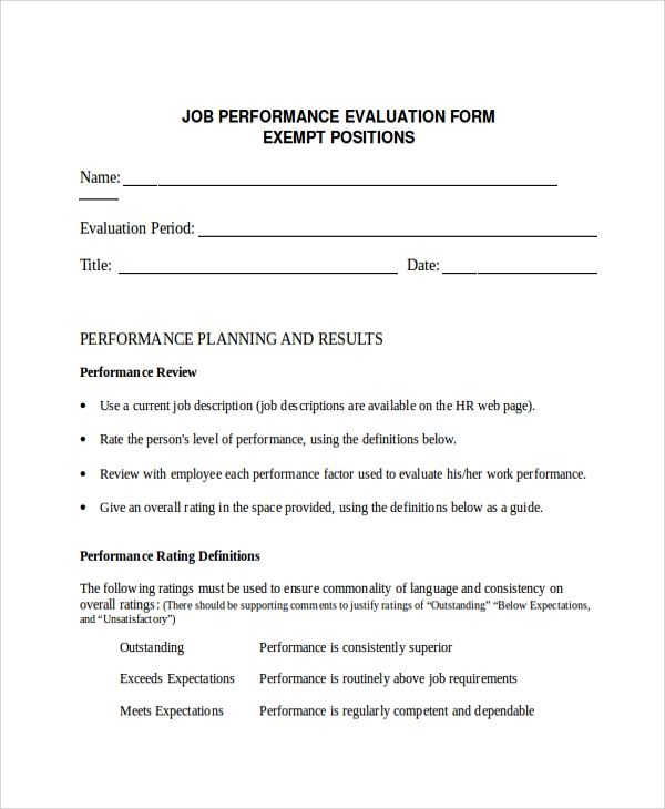 Sample Performance Evaluation   Documents In Pdf Word