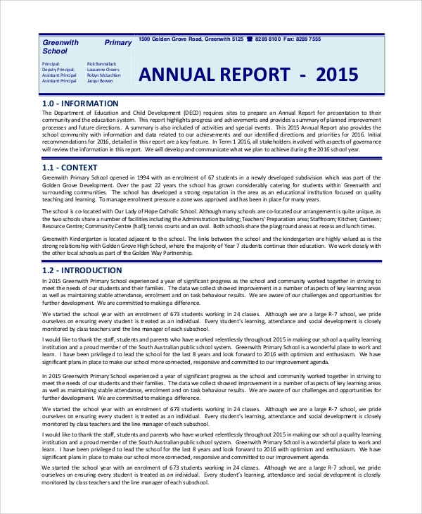 Sample Annual Reports   Documents In Pdf