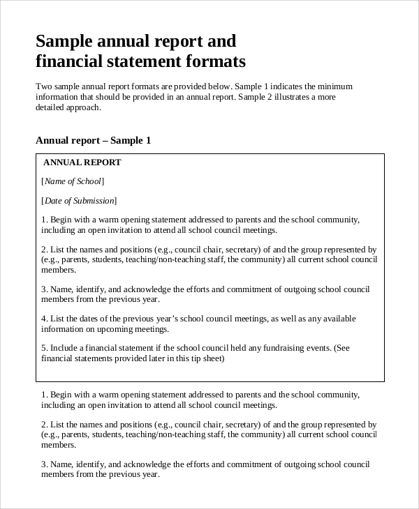 Sample Annual Report   Documents In Pdf