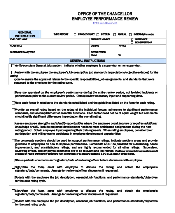 Sample Employee Performance Review   Documents In Word