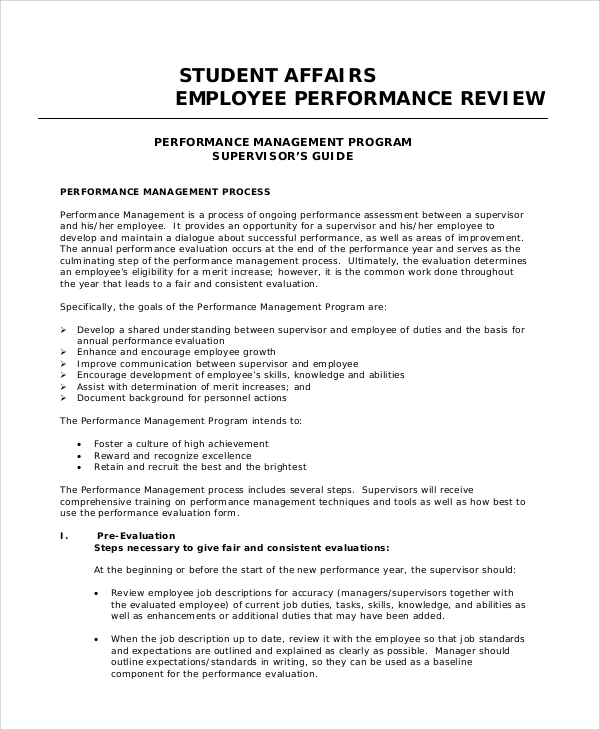 Sample Employee Performance Review   Documents In Word Pdf