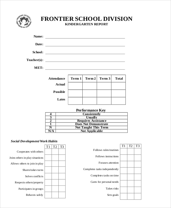 Sample Report Card   Documents In Pdf Word