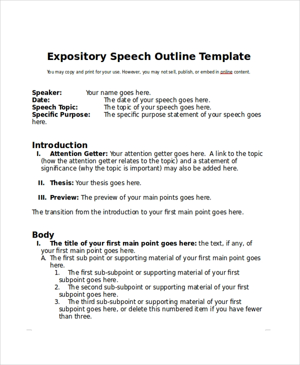 Sample Speech Outline Example 7 Documents In PDF WORD – Speech Outline Examples
