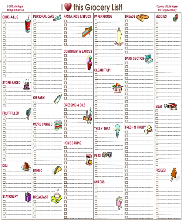 Blank Grocery List Template  Blank Grocery List Templates