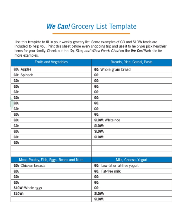 household grocery list template