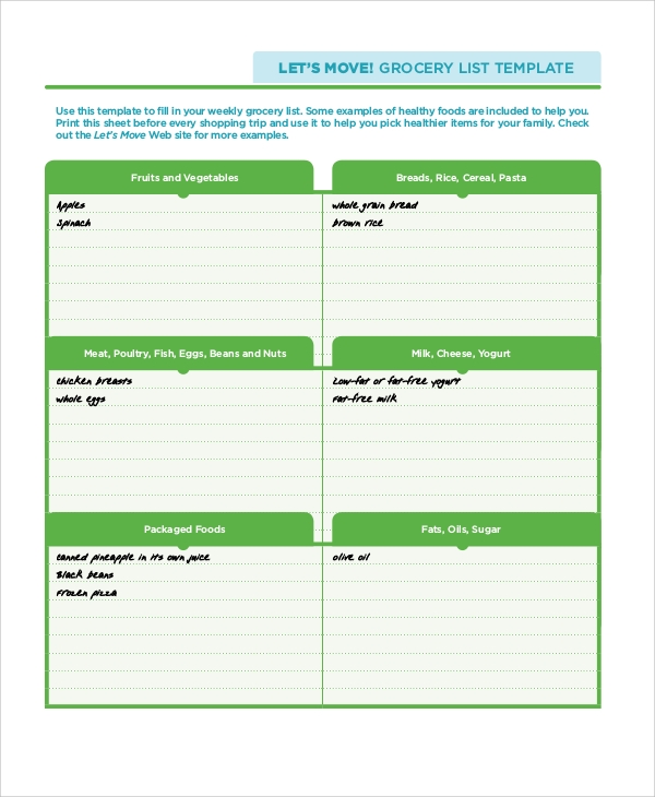 Sample Grocery List 7 Documents in PDF WORD – Grocery List Template Word