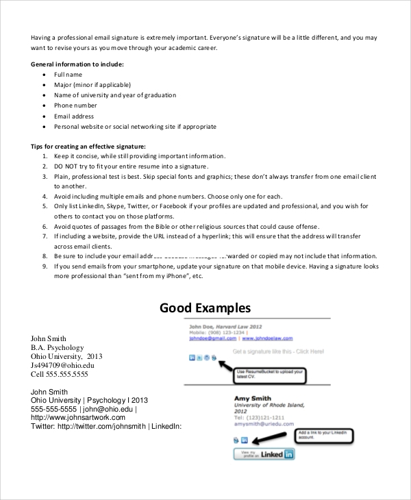 Sample Email Signature Example   Documents In Pdf Word