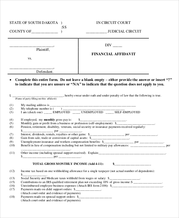 blank financial affidavit form