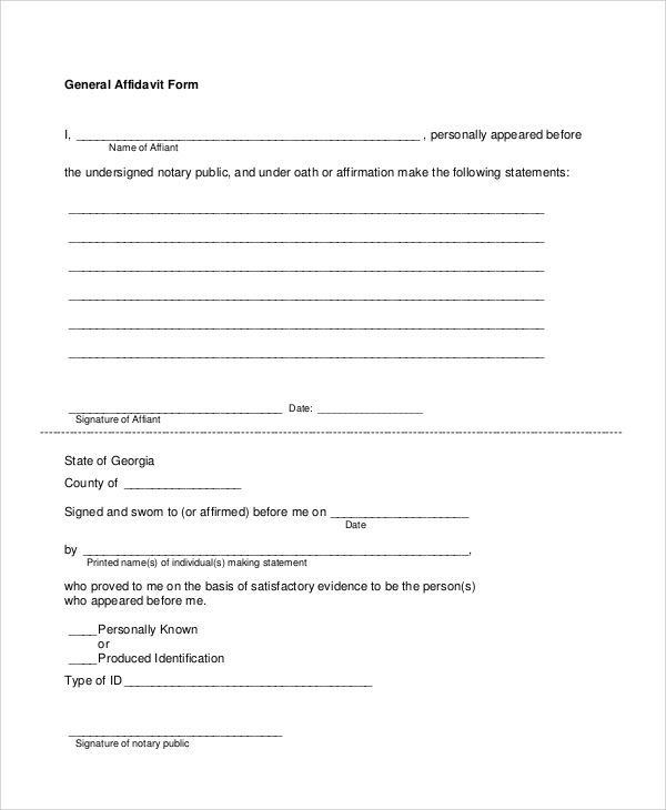 Sample Blank Affidavit Form 6 Documents In PDF – General Affidavit Example