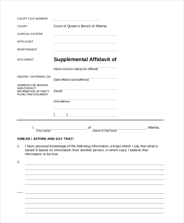 Sample Blank Affidavit Form   Documents In Pdf