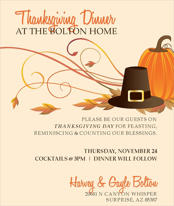 Sample Thanksgiving Invitations  Psd Vector Eps