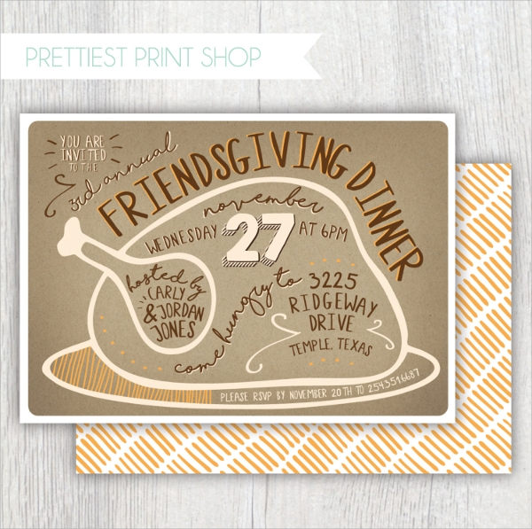 hand drawn thanksgiving invitation