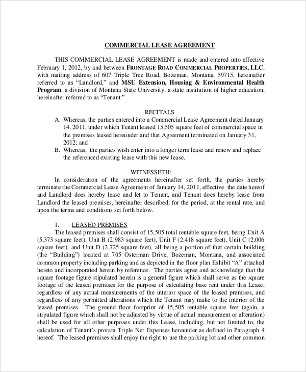 Sample Commercial Lease Agreement   Documents In Pdf
