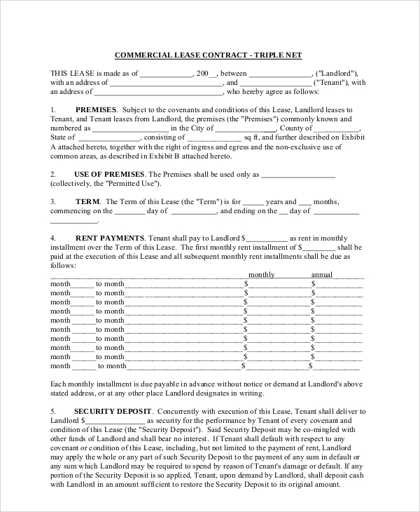 Sample Commercial Lease Agreement 7 Documents In PDF – Sample Commercial Lease Agreement