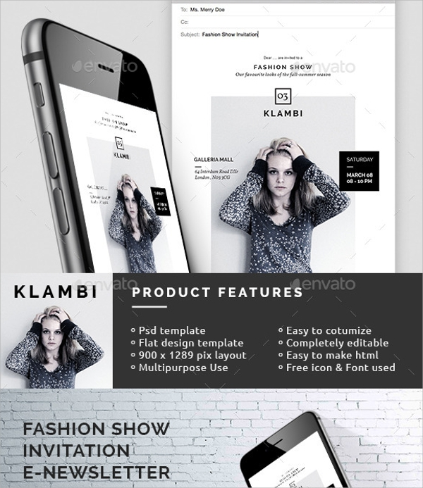 fashion show invitation email template