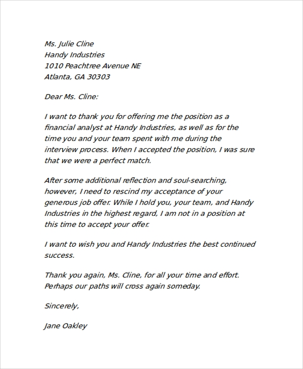 rescind employment offer letter
