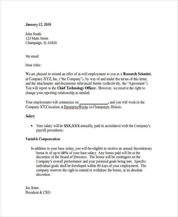 example job offer letter