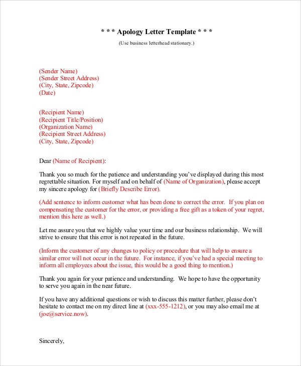 6 sample sincere apology letters sample templates sincere business apology letter altavistaventures