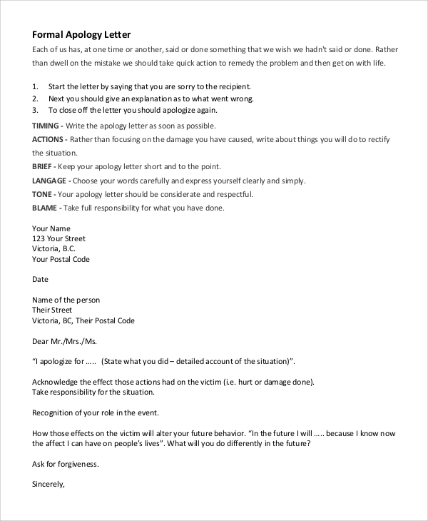Sample Sincere Apology Letter 5 Documents in Word PDF – Sincere Apology Letter