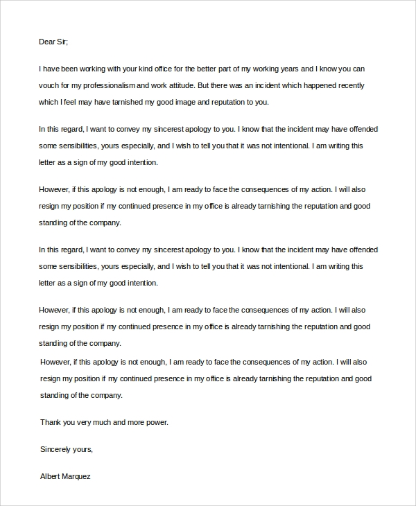sincere apology letter to boss