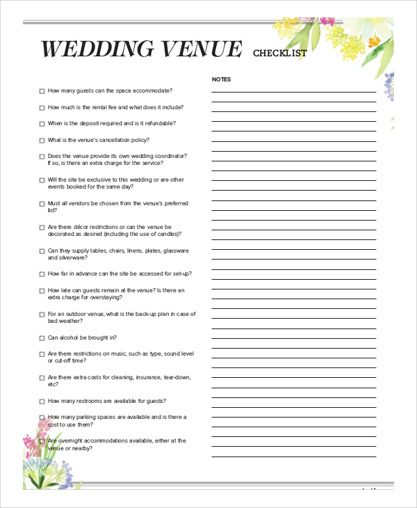 Sample Wedding Checklist   Documents In Word Pdf