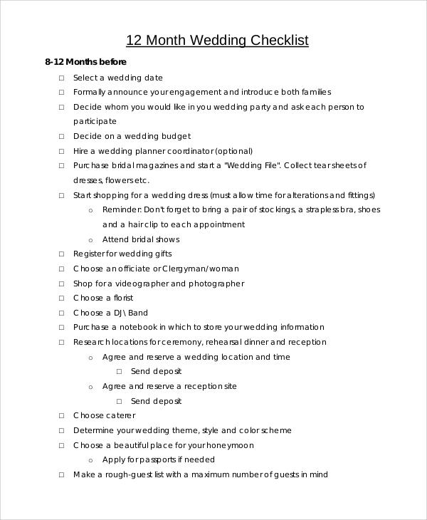 sample wedding checklist template