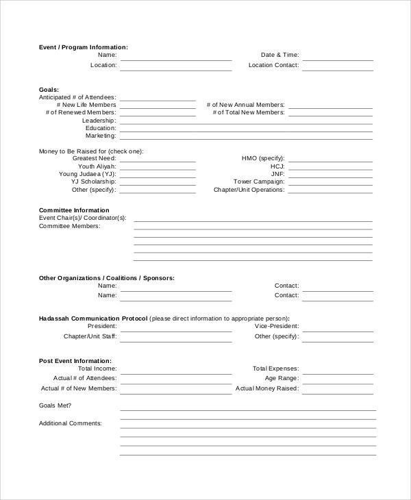event task list