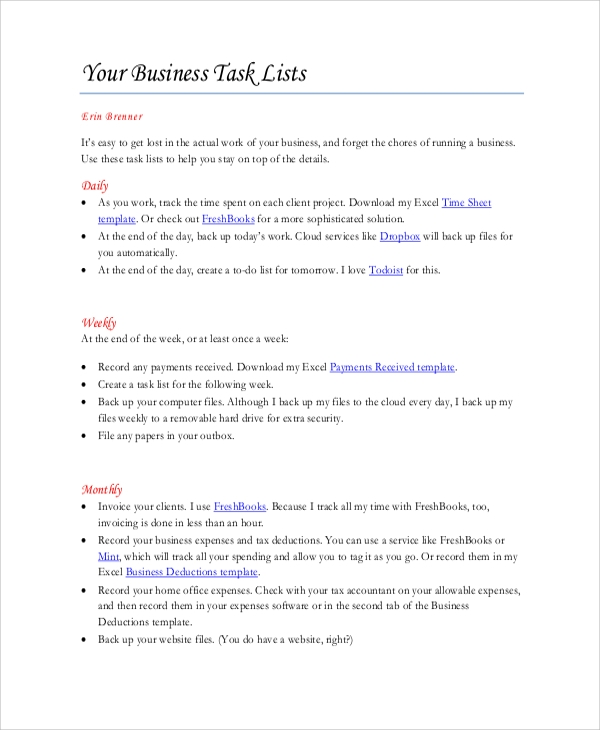 business task list