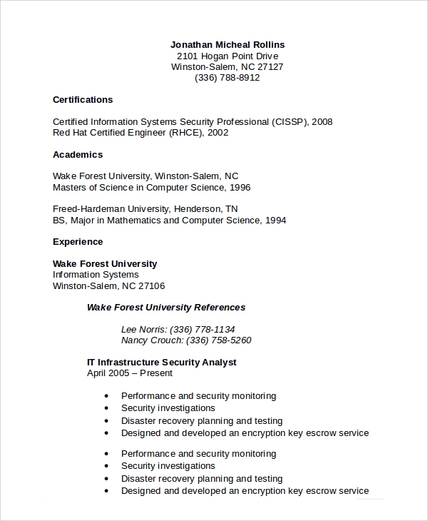 Sample Information Security Analyst Resume