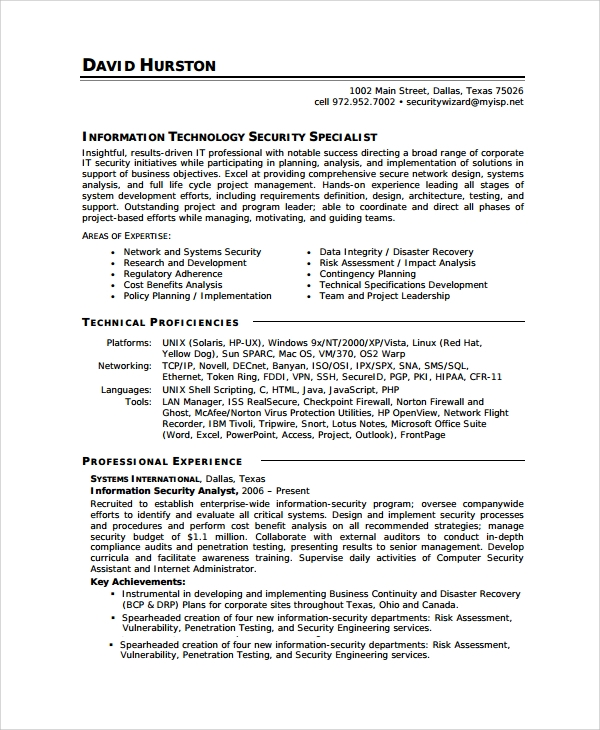 Sample Information Security Analyst Resume   Documents In Word Pdf
