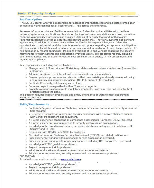 sle resume for information security specialist the
