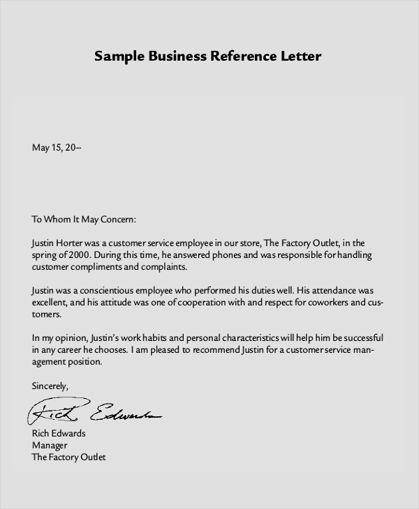 business reference letter sample