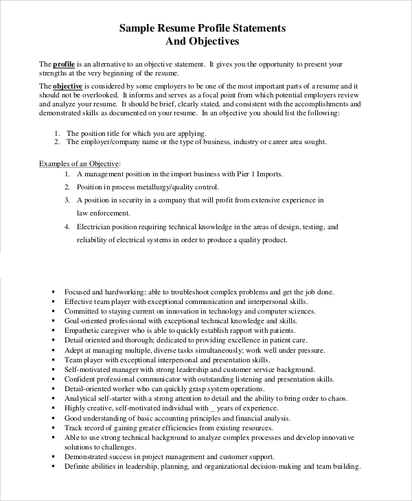 resume profile statements and objectives