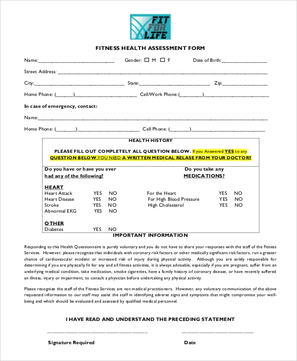 Sample Fitness Assessment Form   Documents In Pdf