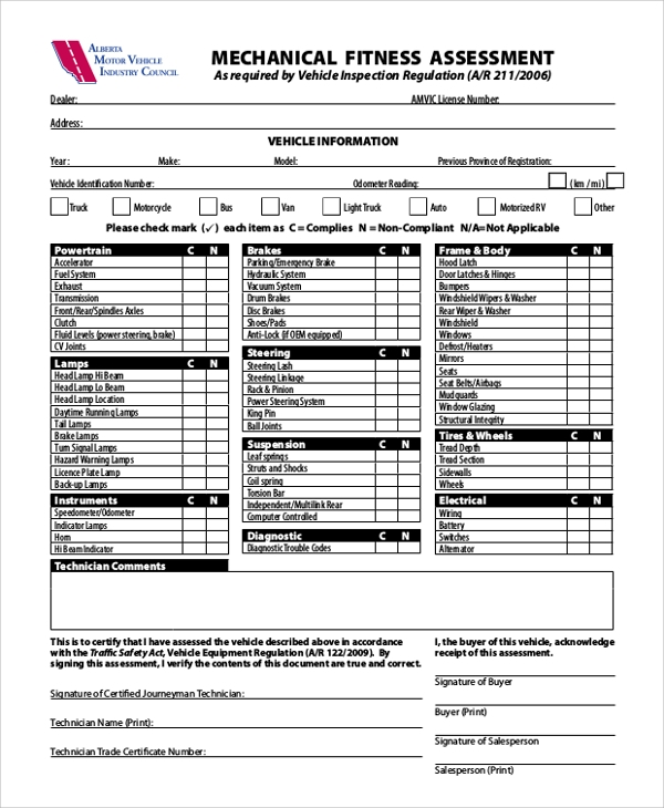 Sample Fitness Assessment Form 7 Documents in PDF – Fitness Assessment Form