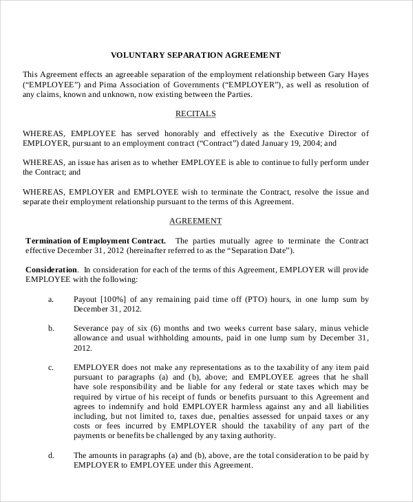 8 Sample Employment Separation Agreements Sample Templates