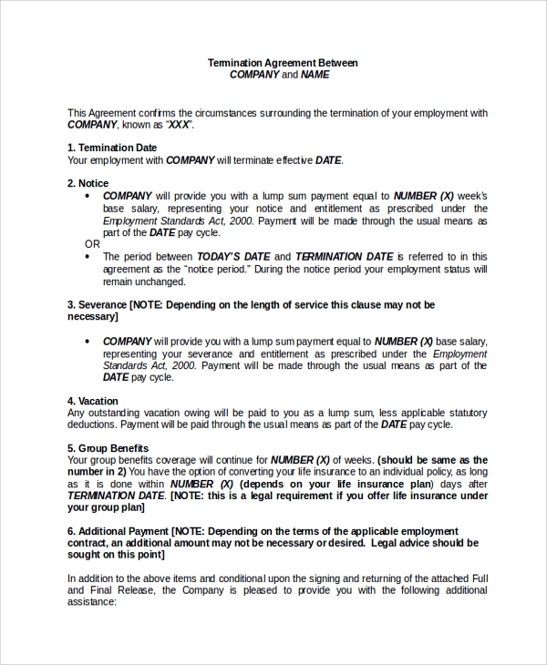 Employment Separation Agreement Sample